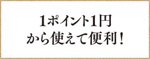 1ポイント1円 から使えて便利!